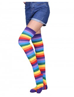 Rainbow Striped Over-the-Knee Socks
