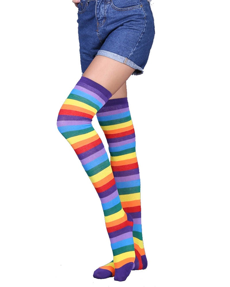 Rainbow Striped Over-the-Knee Socks
