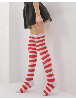 White&Red Striped Over-the-Knee Socks