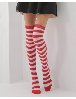 Red&White Striped Over-the-Knee Socks