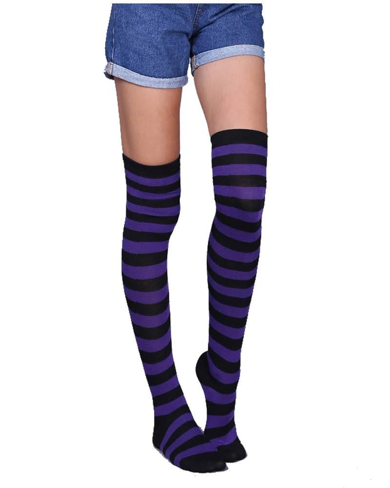Black&Purple Striped Over-the-Knee Socks