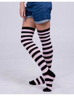 Black&Light Pink Stripes Stockings