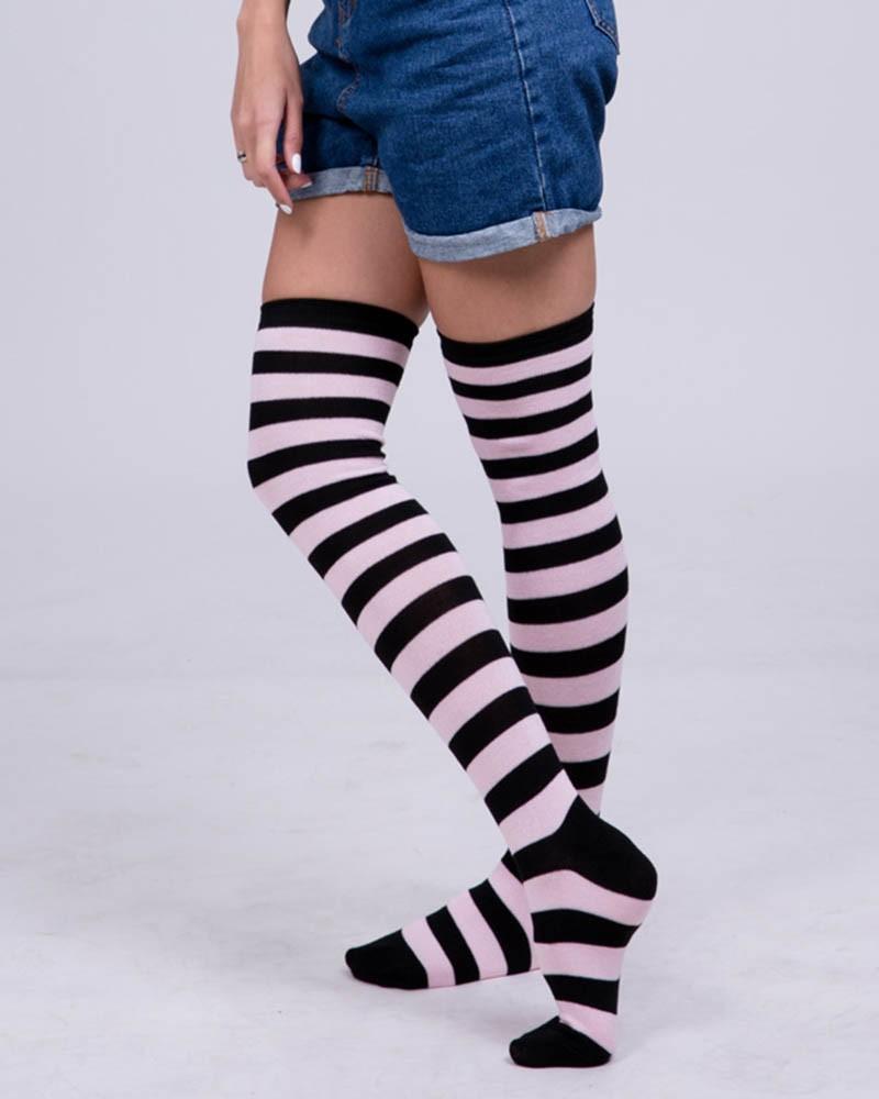 Black&Light Pink Stripes Stockings