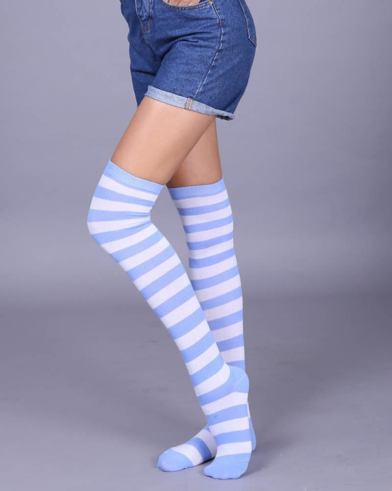 Baby Blue Thigh High Socks