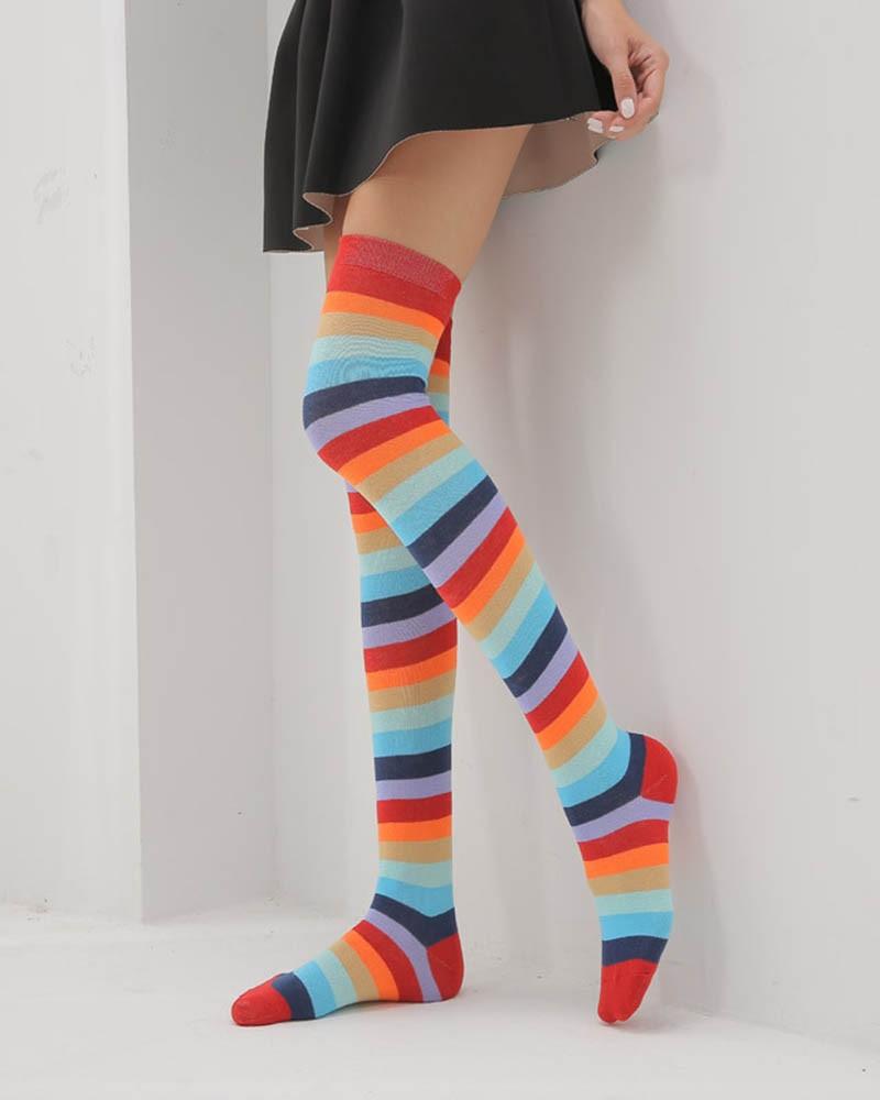 Multi Colors Knee High Socks