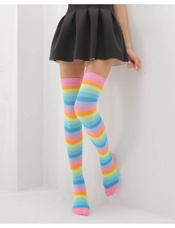 Love Rainbow Thigh High Socks