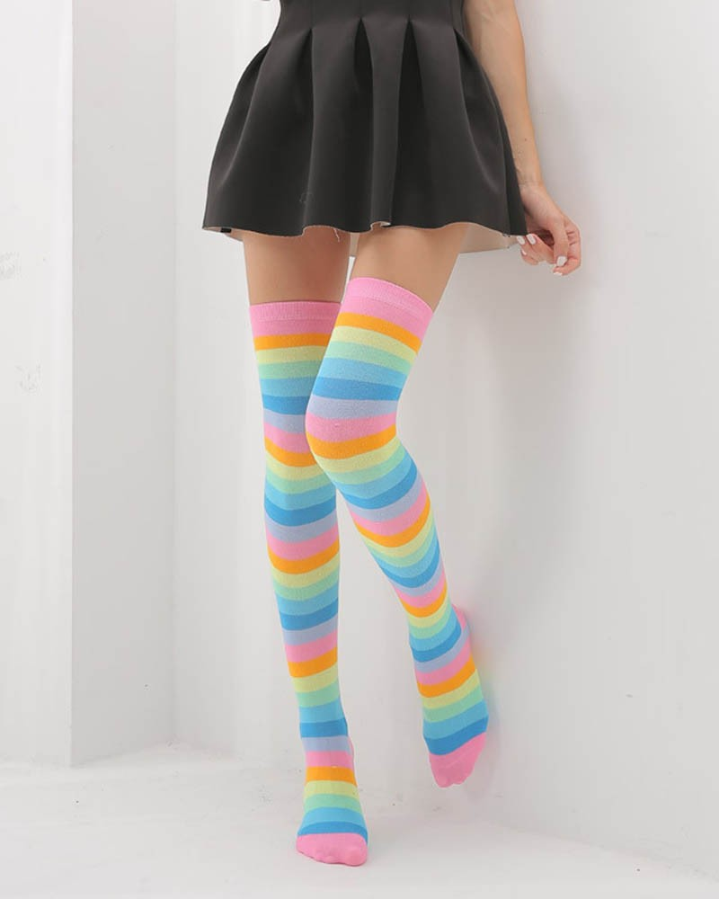 Love Rainbow Thigh High Socks