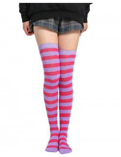 Purple & Rose Red Striped Thigh High Socks