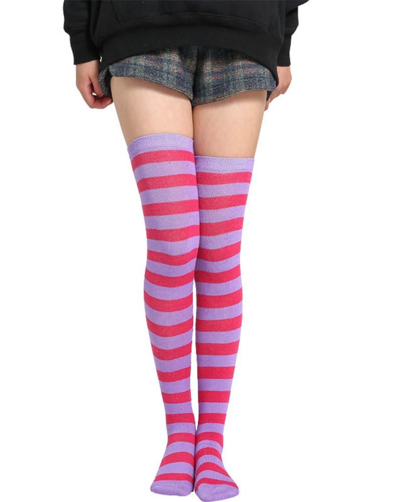 Purple & Rose Red Striped Thigh High Socks
