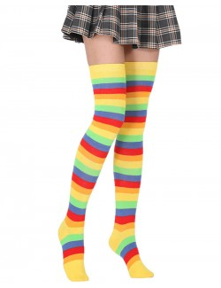 Lovely Rainbow Striped Thigh High Socks