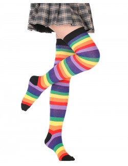 Imperial Rainbow Striped Thigh High Socks