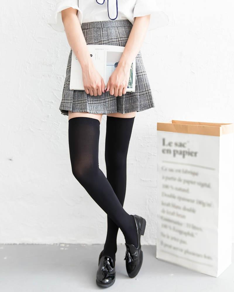 White/Black/Skin 3 Colors Available Thigh High Velvet Tube Socks