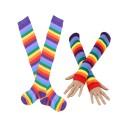 Rainbow Striped Over-the-Knee Socks & Fingerless Sleeve Set