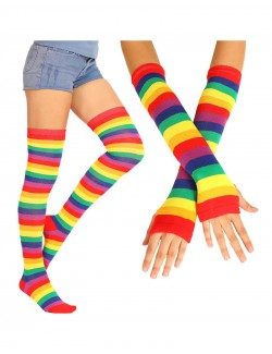 Neon Rainbow Thigh High Socks & Long Fingerless Sleeve Set