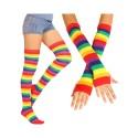 Neon Rainbow Striped Thigh High Socks & Long Fingerless Sleeve Set