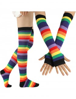 Imperial Rainbow Striped Thigh High Socks & Long Fingerless Sleeve Set