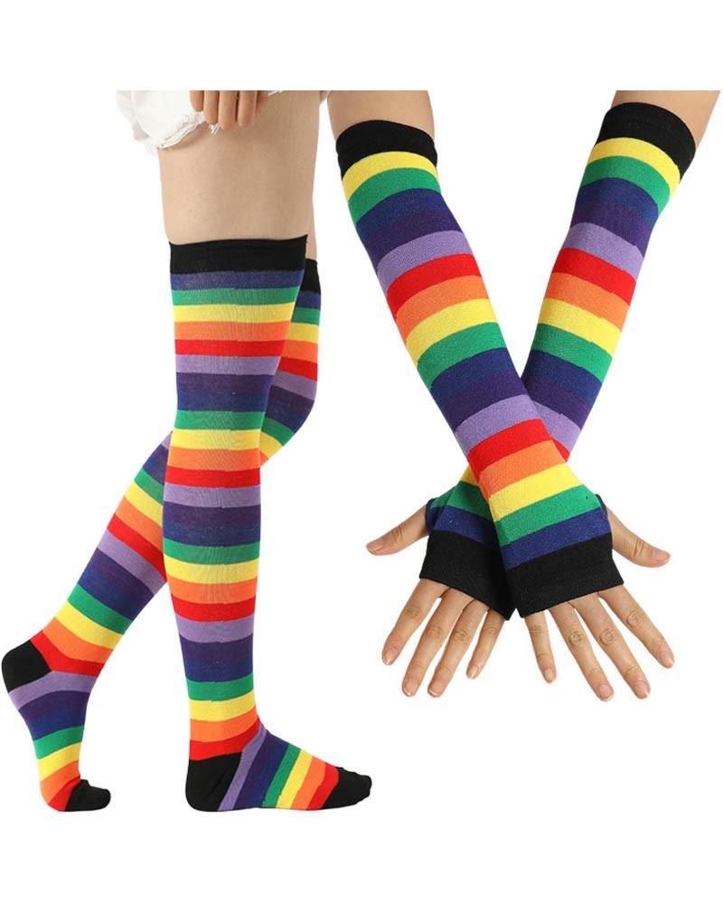 Imperial Rainbow Striped Thigh High Socks & Long Fingerless Sleeve Set
