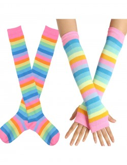 Love Rainbow Over the Knee Socks & Long Fingerless Sleeve Set