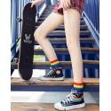 White - Thick Rainbow Striped Unisex Sport Crew Socks