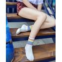 White-Thin Rainbow Striped Unisex Sport Crew Socks