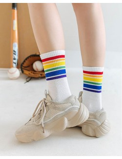 White-Thick & Thin Rainbow Striped Unisex Sport Crew Socks