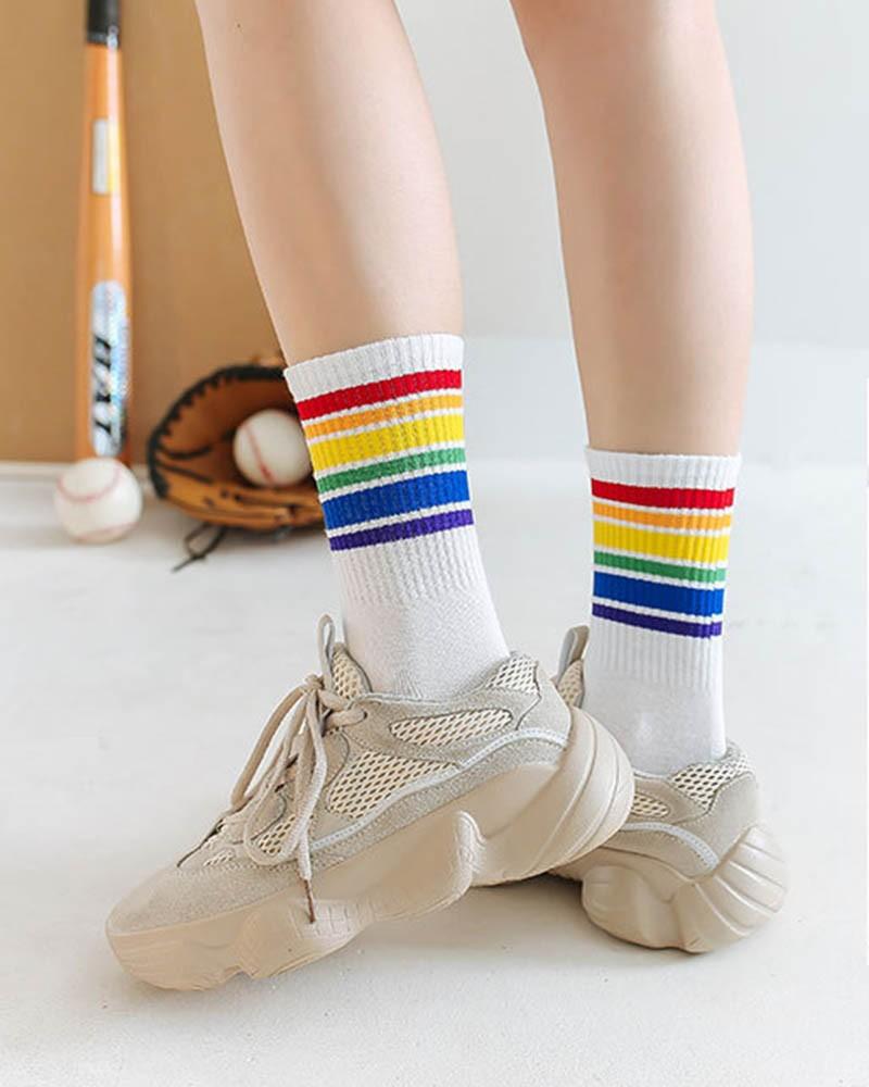 White-Thick & Thin Rainbow Striped Unisex Sport Crew Socks
