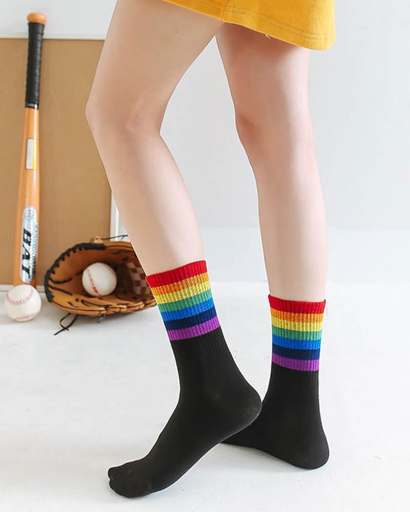 Black - Thick Rainbow Striped Unisex Sport Crew Socks