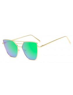 Green lenses retro gold frame sunglasses