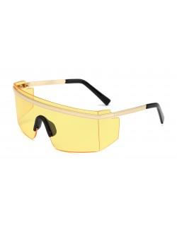 Lunettes soleil carrées unisexe lentille jaune designer