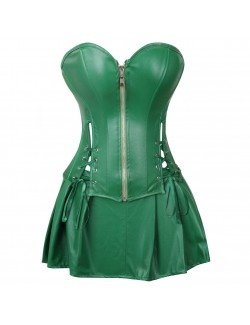 Green Retro Palace Gothic Strapless Strap Body Corset Dress