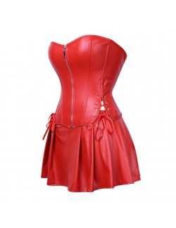 Red Retro Palace Gothic Strapless Strap Body Corset Dress