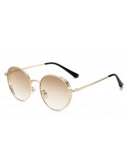 Verres dégradés lunettes de soleil monture ronde style steampunk