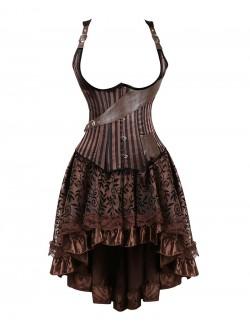 Gothic Vintage Underbust Shoulder Straps Corset And Skirt Set