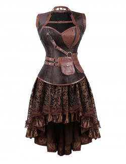 Renaissance Steampunk Brown Leather Buckle Corset And Skirt Set