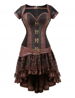 Renaissance Steampunk Brown Overbust Brocade Corset Set