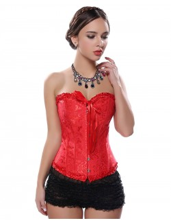 Strapless Overbust Red Brocade Corset