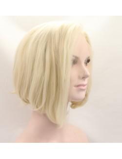 Front dentelle perruque courte blonde claire