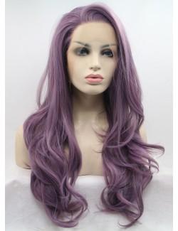 Dentelle de devant perruque longue frisée lilas droite bouclée style étoile