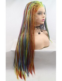 Front lace rainbow braid straight wig multicolored