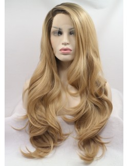 Blonde lace front wig synthetic long wave wigs