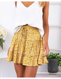 High-waist A-line Print Ruffles Floral Mini Skirt