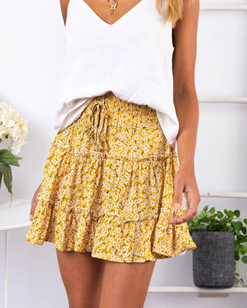 High-waist A-line Print Ruffles Floral Mini Skirt