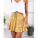 Yellow High-waist A-line Print Ruffles Floral Mini Skirt