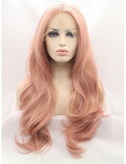 Light color lace front wavy long wig