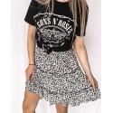 A Line Bohemian Floral Print Ruffle Casual Skirt