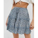 Blue Wildflower A-Line Smocked Tiered Skirt