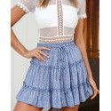Blue High-Waist A-Line Smocked Tiered Skirt