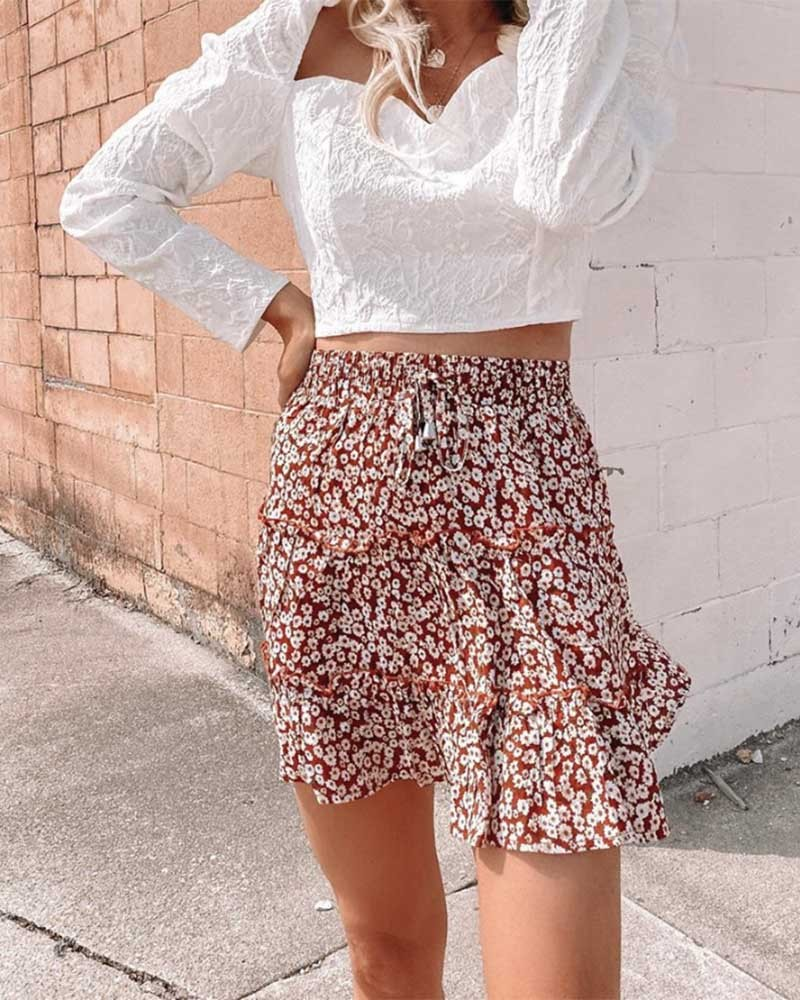 Red Ruffles Floral High-waist A-Line Smocked Tiered Skirt