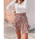 Ruffles Floral High-waist A-Line Smocked Tiered Skirt