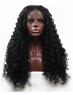 Black curly long african american wig